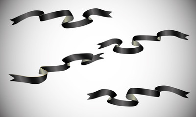 Set of black ribbons on a light background. Black ribbons for your illustration.