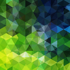 Geometric pattern, triangles vector background in green and blue ' tones. Illustration pattern
