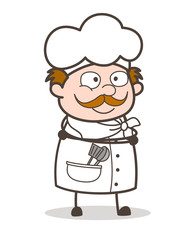 Cartoon Chef Smiling Face Vector Illustration