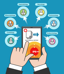 Telehealth concept, computer remote medical care. Hand with smartphone communicates with telemedicine doctors flat vector illustration