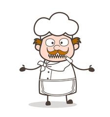 Cartoon Helpless Chef Zipper-Mouth Face