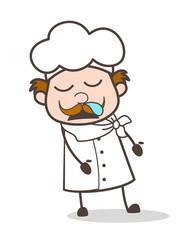 Cartoon Older Chef Sleepy Face Vector Illustration