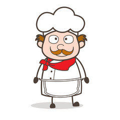 Cartoon Chef Neutral Face Expression Vector Illustration