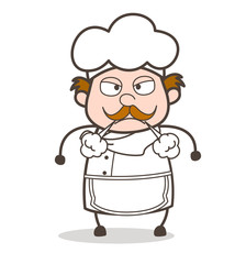 Cartoon Chef Face with Steam From Nose Vector Illustration
