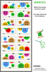 Visual puzzle: Match the halves of picture cards with colorful sewing buttons. Answer included.