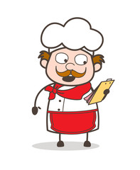 Cartoon Chef Reading List of Works Vector Illustration
