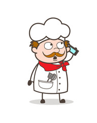 Cartoon Chef Dealing with Client Vector Illustration
