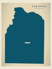 Modern Map - Lawrence Alabama county USA illustration