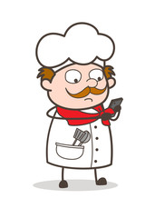 Cartoon Chef Doing Message Vector Concept