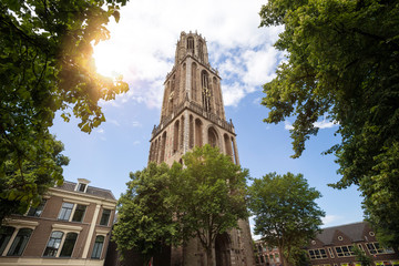utrecht historic city netherlands church tower