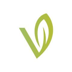 letter V green leaf logo