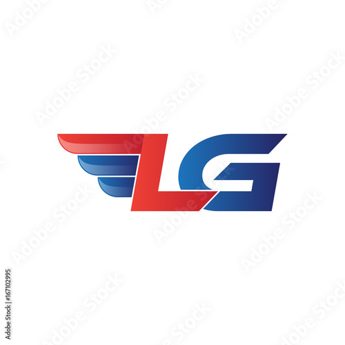 fast initial letter LG logo vector wing