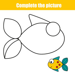 Complete the picture children educational game, coloring page. Printable kids activity sheet with fish