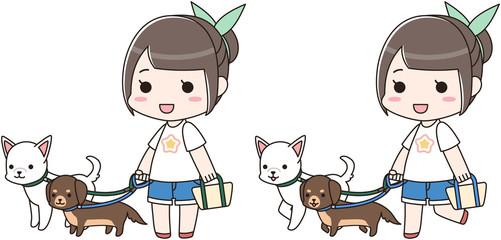 動物 ペット 犬 ワンちゃん 散歩 女の子