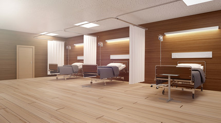 Heavenly light in an empty hospital room