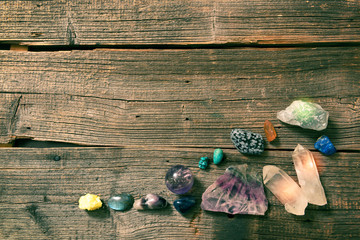 Multiple semi precious gemstones on board