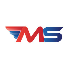 fast initial letter MS logo vector wing