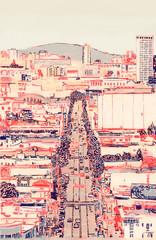 Traffic Driving down Urban San Fransisco Road