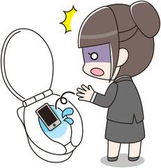 スマートフォンをトイレに落としてしまったスーツの女性