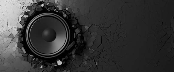 Loudspeaker on a black wall background. 3d illustration