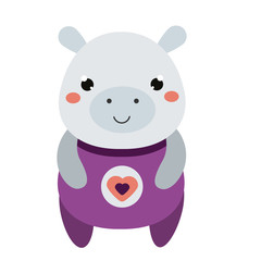 Cute hippo in purple jumpsuit. Cartoon kawaii animal character. Vector illustration for kids and babies fashion