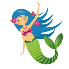 Cute Mermaid character in Cartoon Style. Blue haired undine. vector illustration