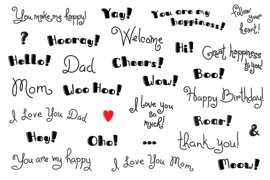 Phrases, Interjections and Exclamation Words for for cover, poster, t-shirt. Greeting card text templates. Vector Set