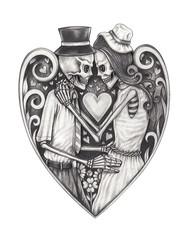 Art design in love skulls.Hand pencil drawing on paper.