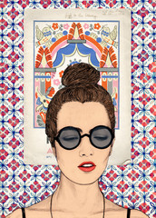 Pretty Young Woman wearing Glasses with Mexican Wallpaper