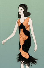 Fashion Model on Catwalk wearing Orange and Black Dress