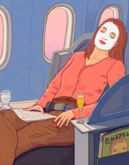 Woman Sleeping on Plane wearing Beauty Mask with Champagne