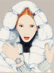 Young Beautiful Woman wearing Fur Coat and Designer Watch