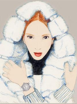 Illustration of woman wearing white fur coat