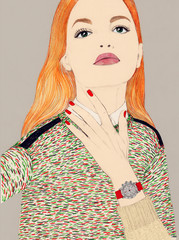 Attractive Young Woman Modelling Watch with Orange Hair
