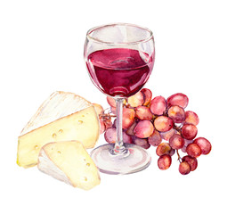 Cheese, grape and red wine glass. Watercolour