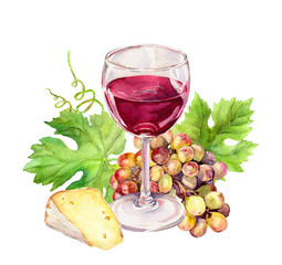 Red wine glass with vine leaves, cheese, grape berries. Watercolor