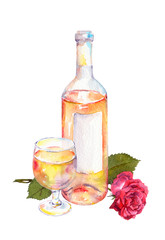 Wine glass, wine bottle with pink or white wine and red rose flower. Watercolor