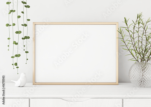 Interior Poster Mock Up With Horizontal Metal Frame And Plants In