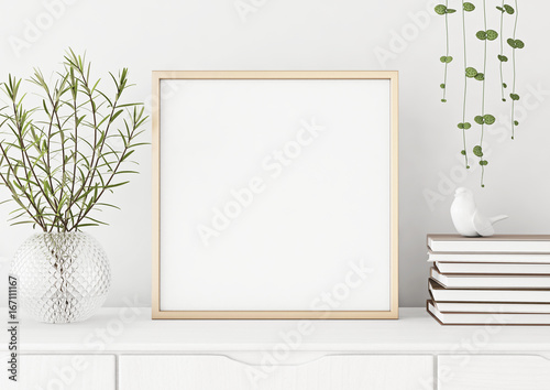 Interior poster mock up with square metal frame and plants in vase ...