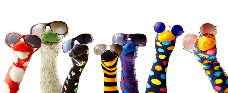 Sock puppets wearing glasses