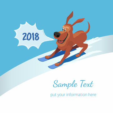 Happy funny dog running on ski. Cartoon cute skiing shocked dog. Surprised animal in pop art retro style. New year card template with 2018 bubble. Place for text. Vector vintage illustration concept