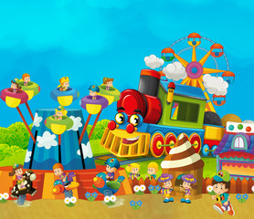 cartoon funfair - amusement park with steam train  - illustration for children