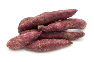 "Sweet potato from Japan. Also known as ""yakiimo"" is a national dish. on the white background"