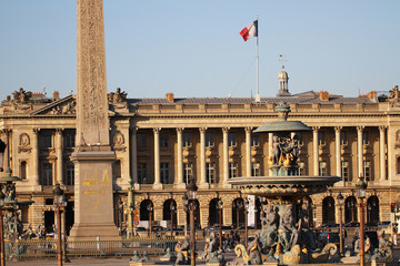 Place de la Concorde, one of the most vising landmark in Paris at the end of the Champs Elysees, square, french revolution, king louis