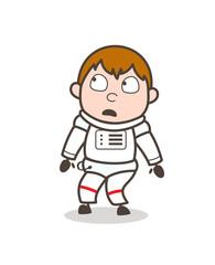 Cartoon Frightened Astronaut Face Expression Vector Illustration