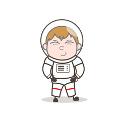 Cute Smile on Cosmonaut Face Vector Illustration