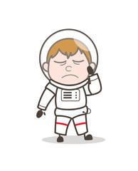 Cartoon Cosmonaut Crying Vector Illustration