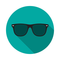 Sunglasses circle icon with long shadow. Flat design style. Sunglasses simple silhouette. Modern, minimalist, round icon in stylish colors. Web site page and mobile app design vector element.