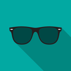 Sunglasses icon with long shadow. Flat design style. Sunglasses simple silhouette. Modern, minimalist icon in stylish colors. Web site page and mobile app design vector element.