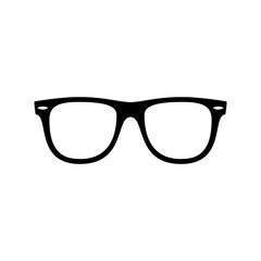 Sunglasses icon. Black, minimalist icon isolated on white background. Sunglasses simple silhouette. Web site page and mobile app design vector element.